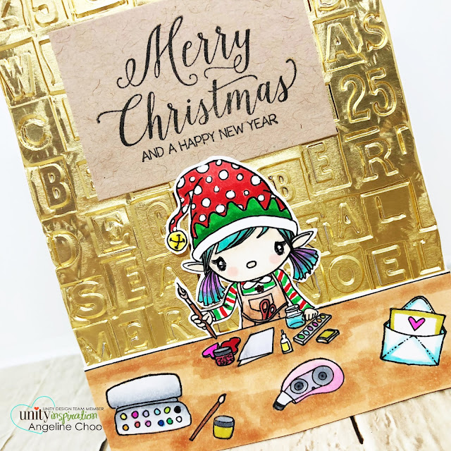ScrappyScrappy: Crafty Little Elf #scrappyscrappy #unitystampco #card #cardmaking #craft #crafting #stamp #stamping #youtube #quicktipvideo #timholtz #sizzixemboss #copicmarkers #goldfoil #christmascard #christmas #holidaycard #christmaself #craftyelf #merrychristmas #plannergal
