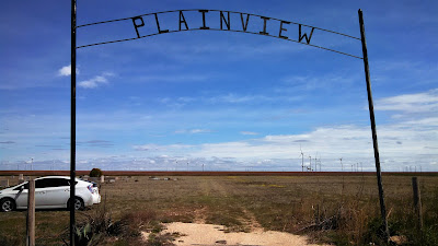 The front entrance gate for the Plainview Cemetery in Dawson County Texas.
