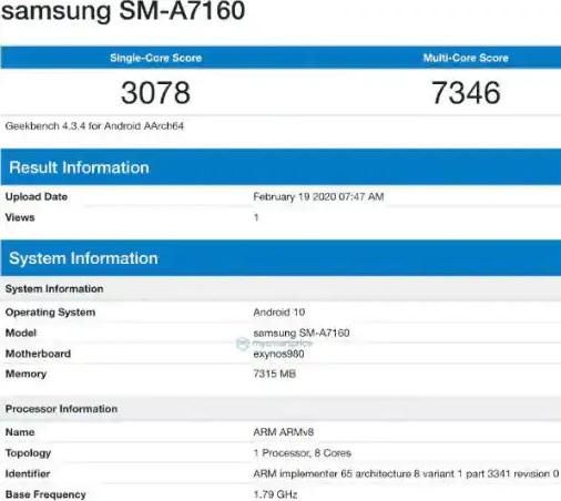 Samsung Galaxy A71 5G, Exynos 980 işlemci ile Geekbench'te görüldü