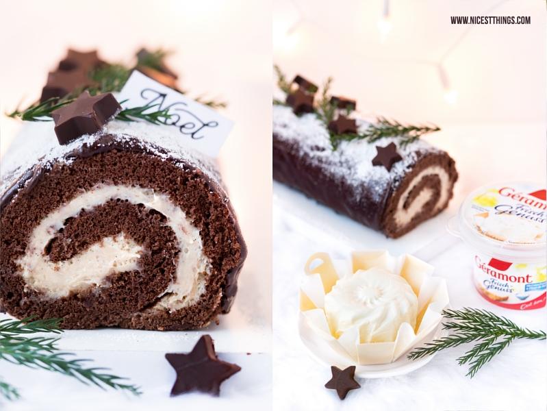 Französisches Dessert Weihnachten Bûche de Noël Géramont Frisch Genuss