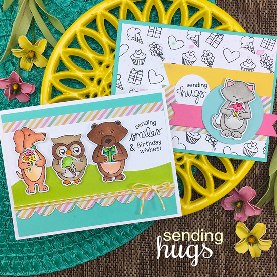 Hugging Animal Cards by Jennifer Jackson | Sending Hugs Stamp Set by Newton's Nook Designs #newtonsnook #handmade