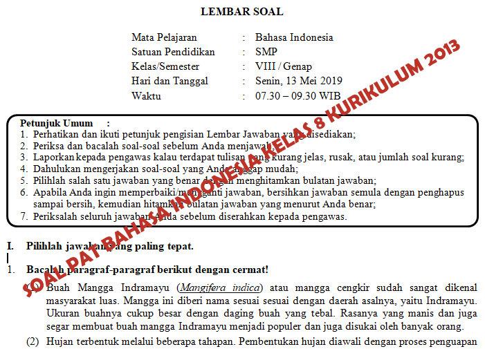 Soal Dan Kunci Jawaban Pat Bahasa Indonesia Smp Kelas 8 Kurikulum 2013 Tahun Pelajaran 2018 2019 Didno76 Com