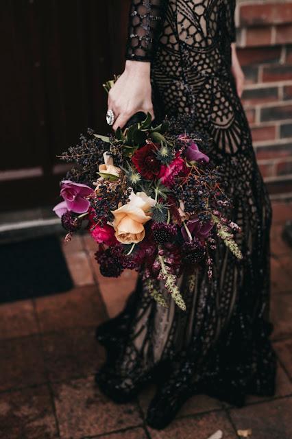 melbourne weddings ashleigh haase photography black bridal gown dark wedding theme flroals cake
