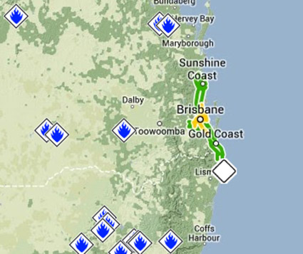 similar icons used for qld and nsw some other emergency information for nsw the white icon all icons are clickable to retrieve basic information about