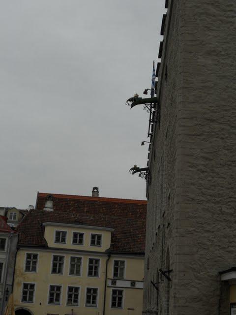 Gargoyle rain gutters in Tallinn, Estonia