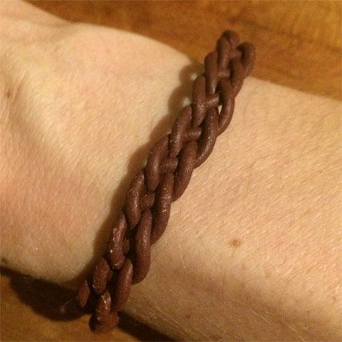 stoer leer gevlochten armband met 4 draden