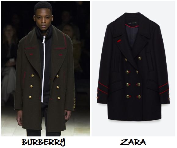 clones 2016 abrigo militar botones burberry zara