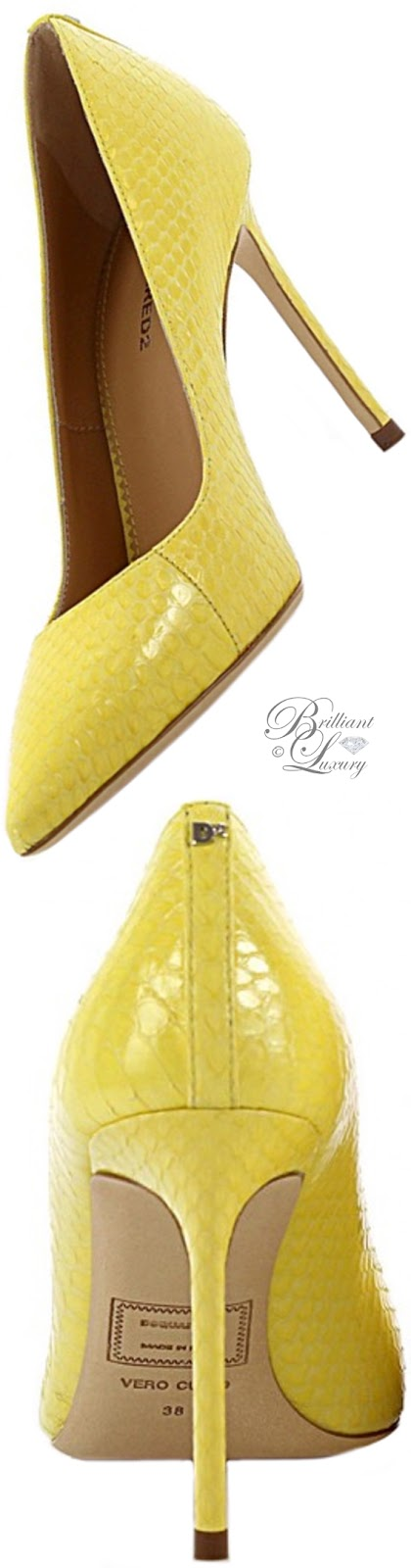 Brilliant Luxury ♦ Dsquared2 yellow leather pumps