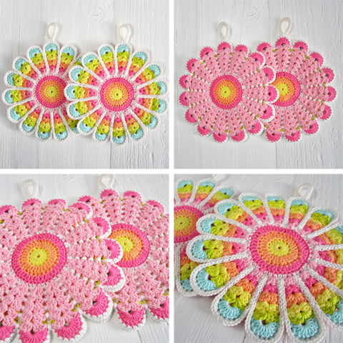 Kitchen Crochet Patterns featured by top US crochet blog, Flamingo Toes: flower potholders