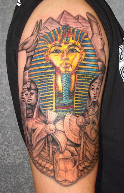 Meia Manga Egipcio De Tatuagem Para Homens