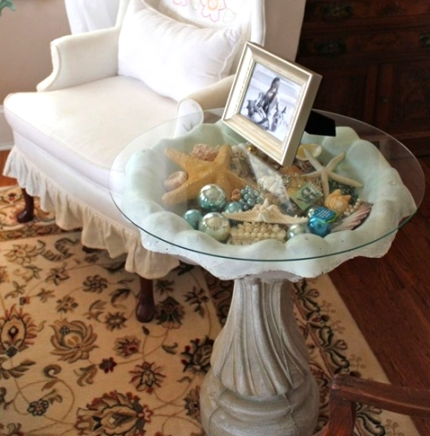 bird bath side table
