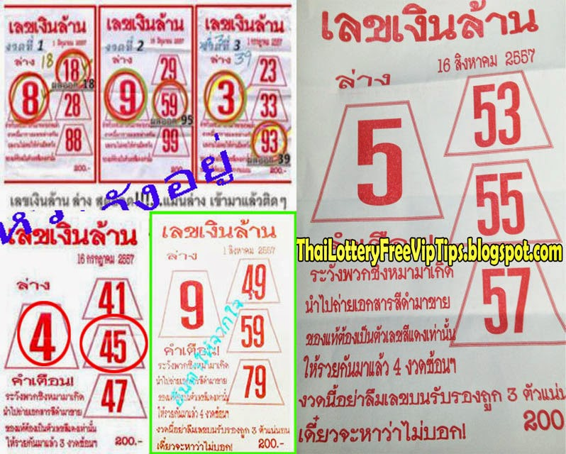 Thai Lottery Down Hot Tip Paper 16-08-2014