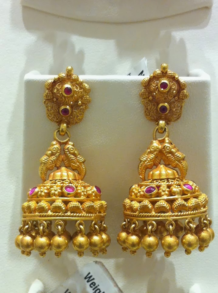 Traditional Gold Jhumkis Jewellery Designs