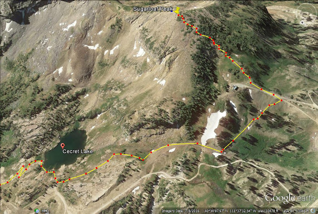 Cecret Lake & Sugarloaf Peak trail map