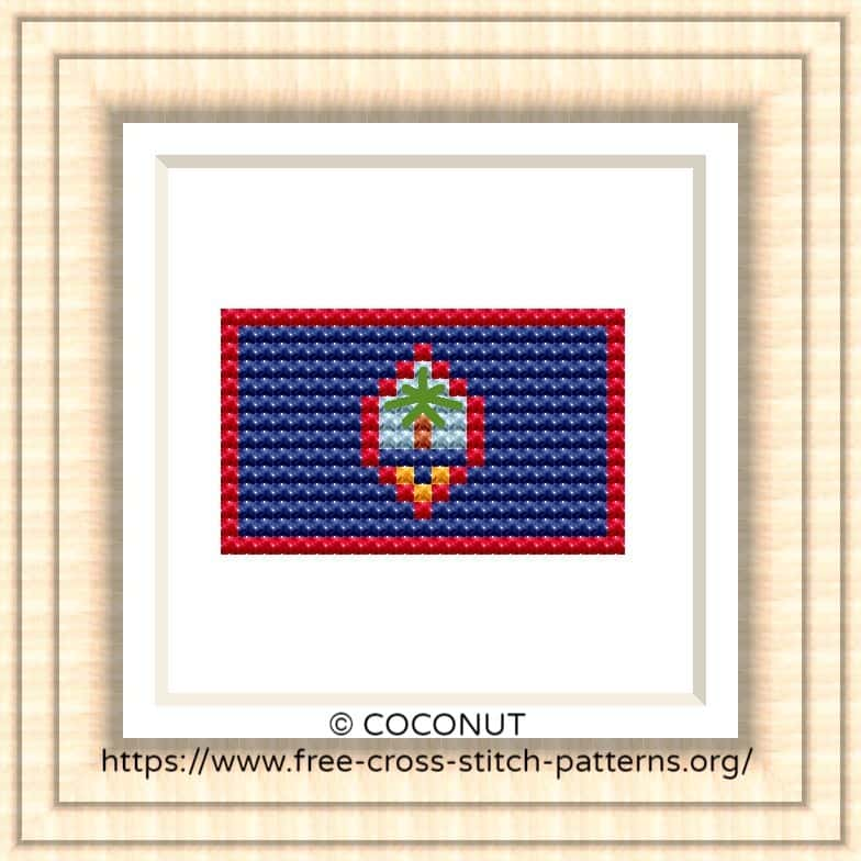 NATIONAL FLAG OF GUAM CROSS STITCH CHART