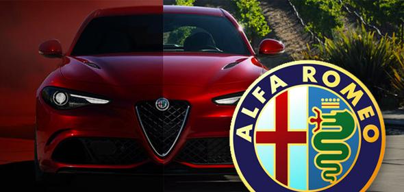 Automóvil rojo de alfa romeo con logo de serpiente comiéndose a un hombre