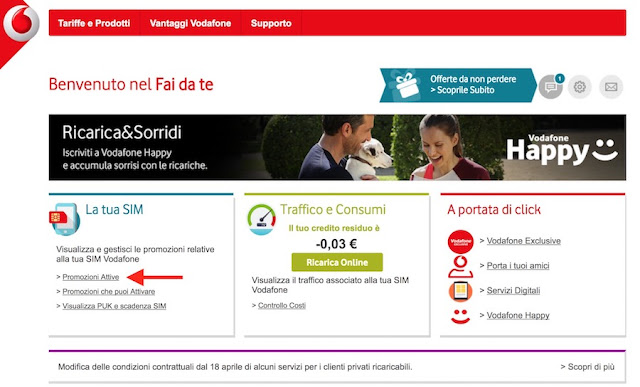 area fai da te di vodafone, dove si disattiva vodafone exclusive