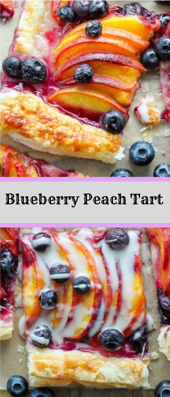 Easy Blueberry Peach Tart with Vanilla Glaze #dessert #cake