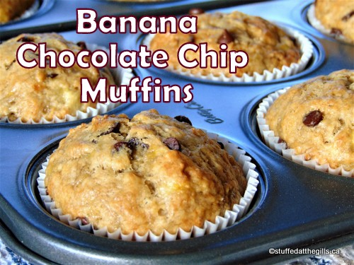 Banana Chocolate Chip Muffins hot from the oven.