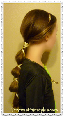 Halloween hairstyle.  Brave ponytail tutorial.  Merida's mom Queen Elinor hair.