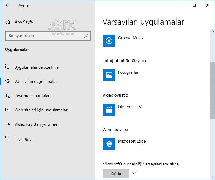 Uygulamaları Microsoft'un varsayılanına sıfırlama-www.ceofix.com