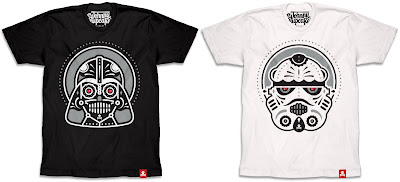 "Star Wars x Día de Muertos ""Sugar Skull"" T-Shirts by Johnny Cupcakes - Dark Side Sugar Skull & Trooper Sugar Skull"