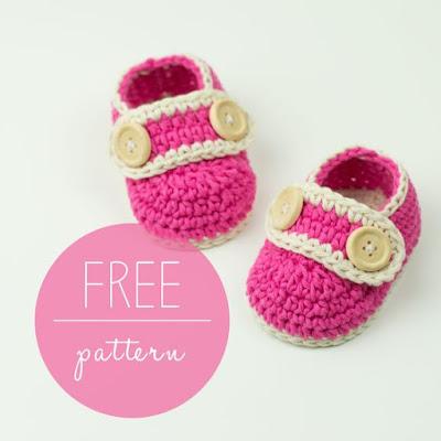 """Modèle gratuit Chausson bébé au crochet """"Pretty In Pink"""""""