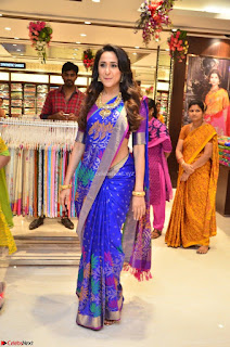 Pragya Jaiswal in colorful Saree looks stunning at inauguration of South India Shopping Mall at Madinaguda ~  Exclusive Celebrities Galleries 014
