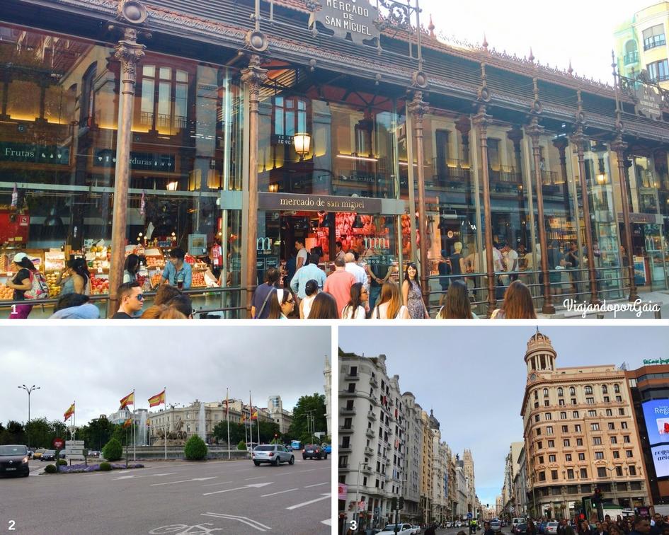 1. Mercado de San Miguel 2. Fuente Cibeles 3. Gran Vía.