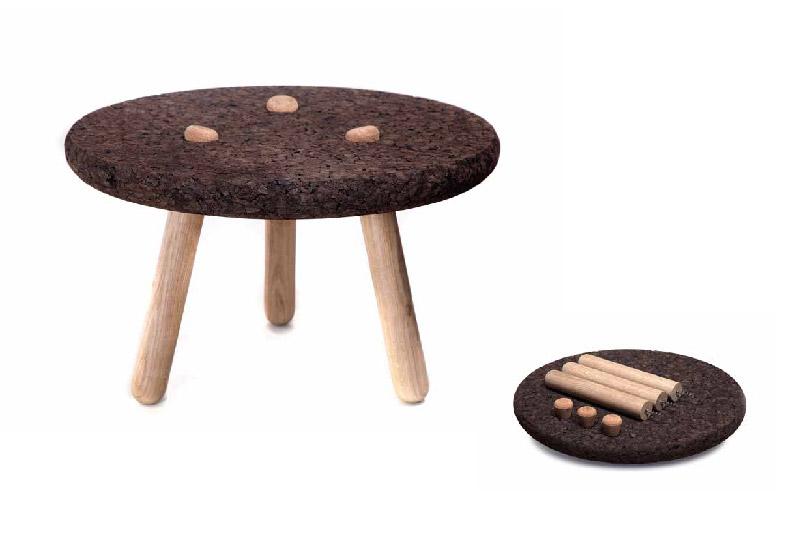 tavolino legno e sughero