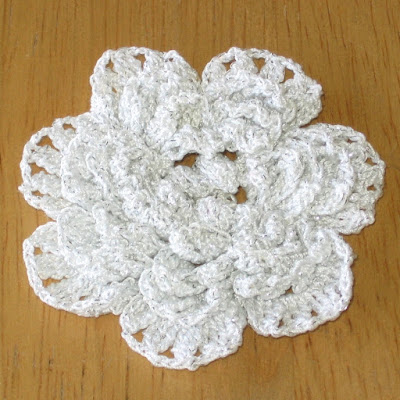 White Crochet 3D Flower Brooch with Silver Accents - Handmade by RSS Designs In Fiber on Etsy