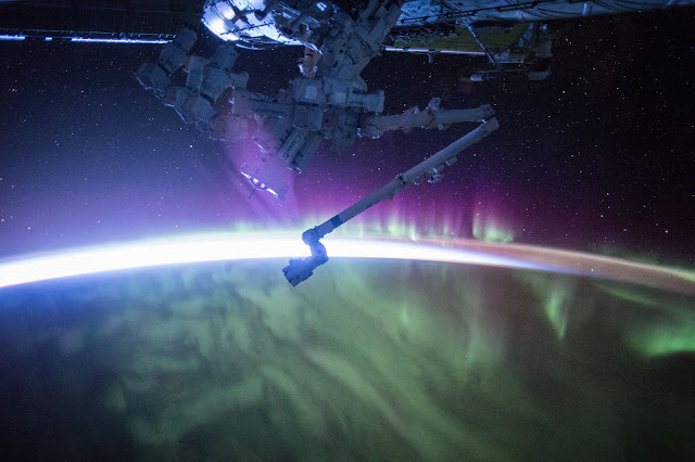 Aurora and Sunrise over Indian Ocean seen from the International Space Station