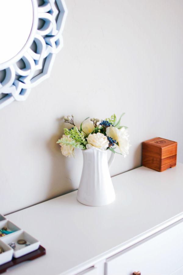 Vase on master bedroom dresser