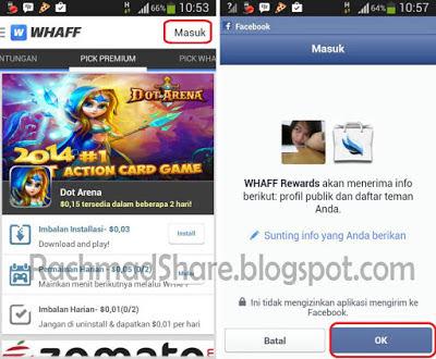 Buka aplikasi whaff dan login menggunakan facebook kamu