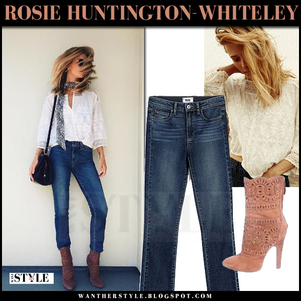 Rosie Huntington-Whiteley in white lace blouse, jeans paige jacqueline axel and suede ankle boots alaia what she wore