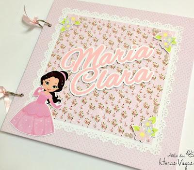 livro de mensagens caderno de assinatura recordação memórias lembranças personalizado aniversário infantil 1 aninho princesa floral delicado rosa bebê menina scrap scrapbook scrapbooking álbum