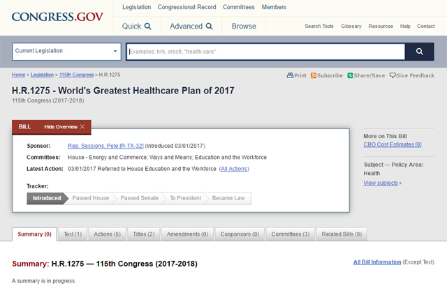 screen cap of Congressional legislation page, showing title of bill as World's Greatest Healthcare Plan of 2017
