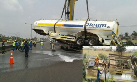 How Loaded Fuel Tanker Fell Off Bridge In Lagos