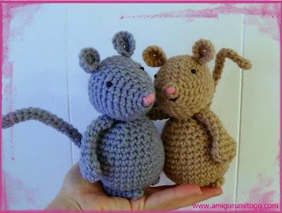 crochet grey and beige mice