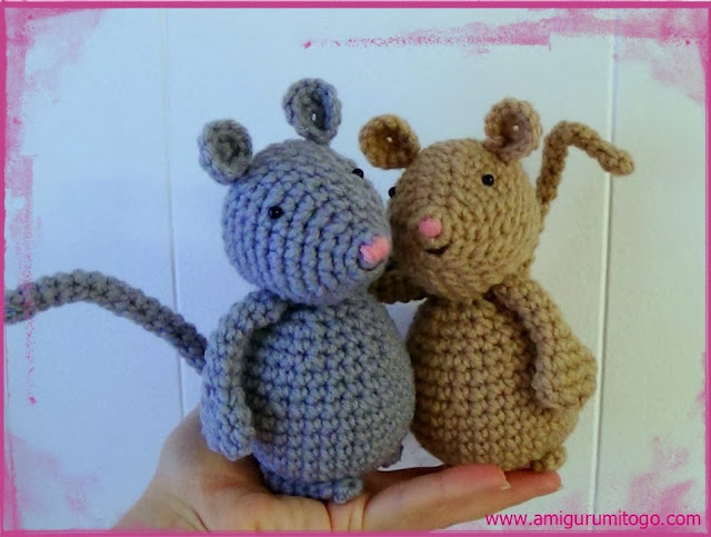 crochet grey and beige mice
