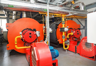 gas fired boilers in a boiler room