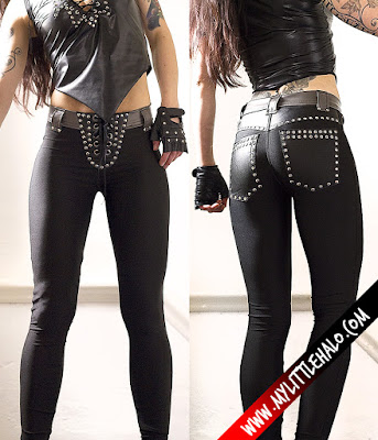 Black spandex pants with lace up crotch and studded pockets