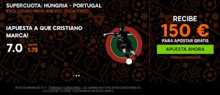 888sport bienvenida 150 euros + supercuota 7 Ronaldo marca Hungria vs Portugal 22 junio