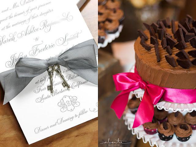invite and chocolate cake