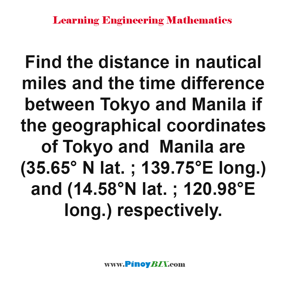 Find the distance in nautical miles and the time difference between Tokyo and Manila