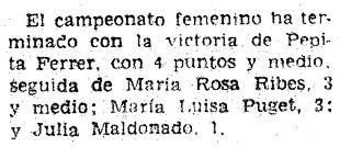 XVI Campeonato Femenino de Catalunya 1959, recorte de El Mundo Deportivo, 20/2/1959