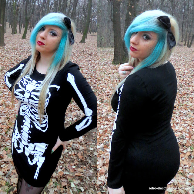 skeleton print dress emo girl halloween blue hair shein