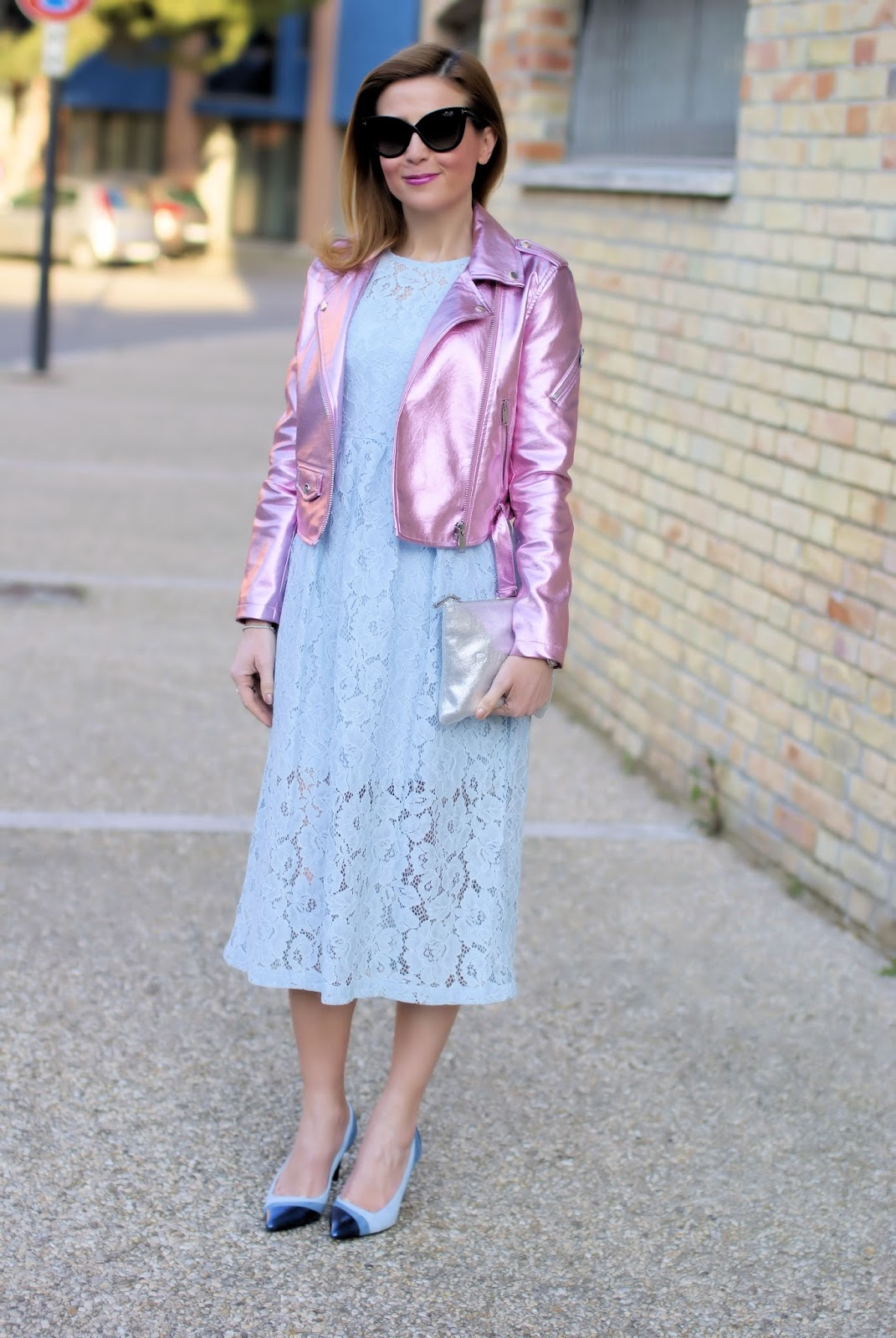 Lace dress and metallic pink motorbike jacket, SmartBuyGlasses Tom Ford sunglasses on Fashion and Cookies fashion blog, fashion blogger style