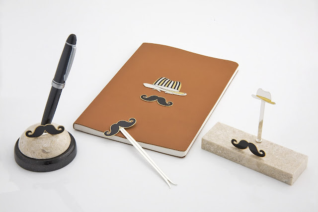 JOURNAL MUSTACHIOS RS.3600PEN STAND MUSTACHIOS RS.3100BOOK MARK  MUSTACHIOS RS.2300BUSINESS CARD HOLDER MUSTACHIOS RS.3200-