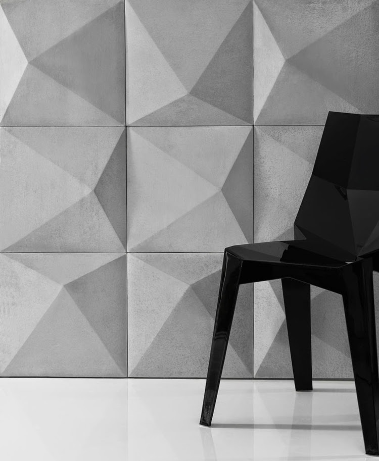 Decorative wall panels: Geometric 3D wall panel with 3D chair design